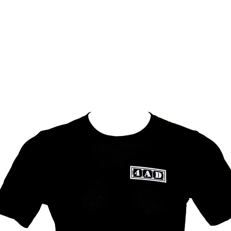 4AD Merch - Tee - White on Black, Left Logo