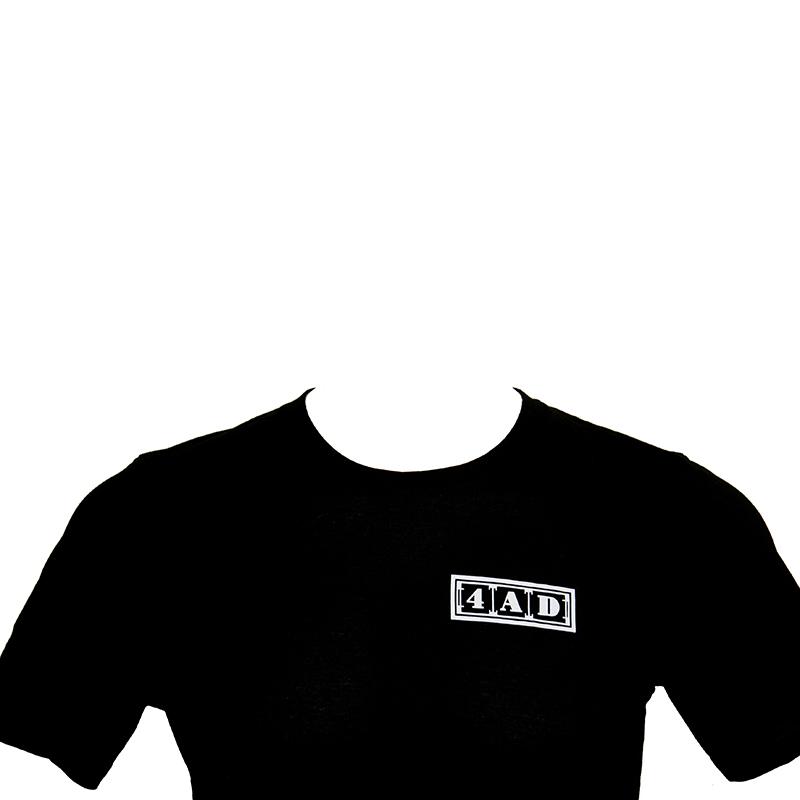 4AD Merch - Tee - White on Black, Left Logo